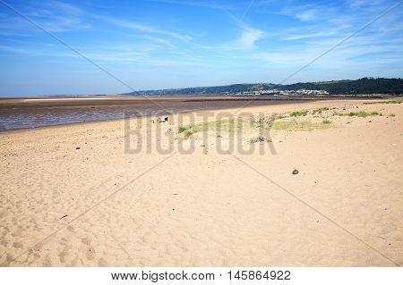 Llanelli Beach on the Loughor Estuary, Carmarthenshire, Wales, UK is a popular Welsh tourist coastline resort