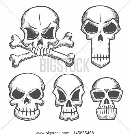 Skulls and craniums with crossbones icons. Vector pencil sketch emblems for cartoon, label, tattoo, halloween decoration