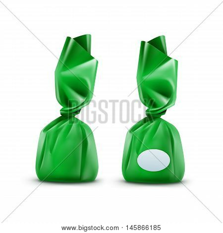 Vector Realistic Chocolate Candy in Green Glossy Wrapper Close up Isolated on White Background