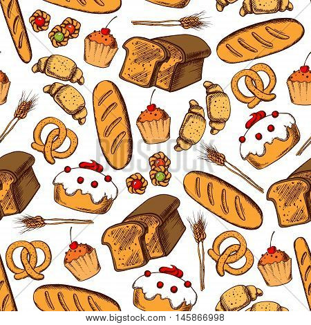 Bakery and pastry seamless background. Vector pattern wallpaper of croissant, bread, baguette, muffin, pretzel, bagel, cupcake for patisserie, cafe, bakery desserts shop