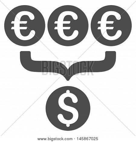Euro Dollar Conversion Aggregator icon. Vector style is flat iconic symbol, gray color, white background.