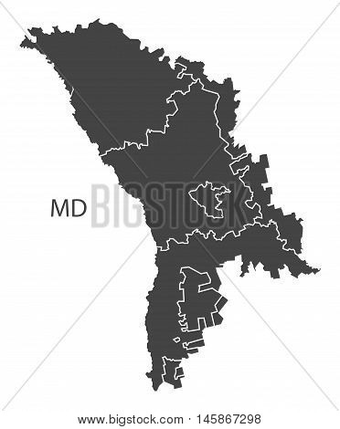 Moldova grey map with regions isolated vector high res
