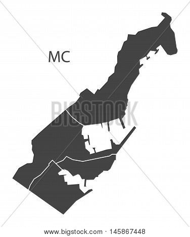 Monaco grey map with districts isolated vector high res