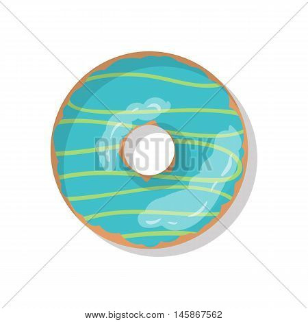 Tasty blue sweet donut icon with sprinkles isolated on white background. Top view illustration of doughnut for your cafe, restaurant, shop flyer and banner