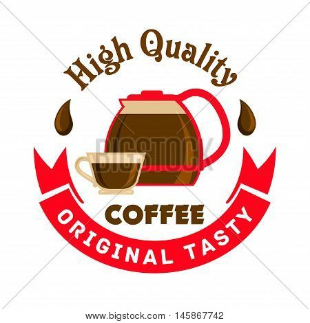 Cafe emblem. Glass coffee pitcher and cup label. Icon template for cafeteria signboard, fast food menu, coffee shop