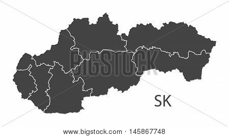 Slovakia grey map with counties isolated vector high res