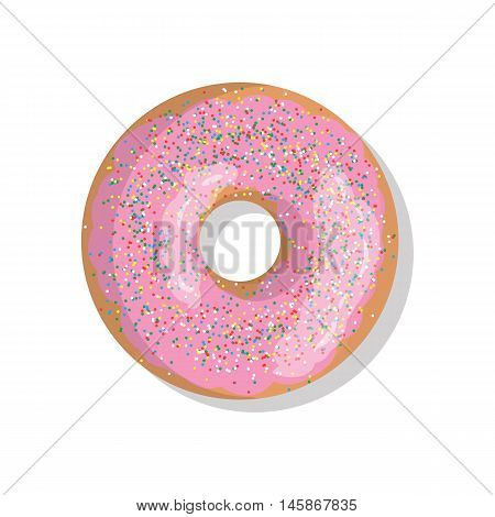 Tasty pink sweet donut icon with sprinkles isolated on white background. Top view illustration of doughnut for your cafe, restaurant, shop flyer and banner