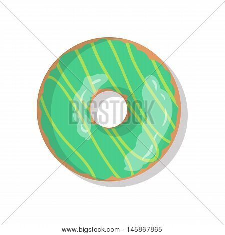 Tasty green sweet donut icon with sprinkles isolated on white background. Top view illustration of doughnut for your cafe, restaurant, shop flyer and banner