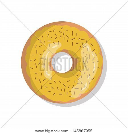 Tasty yellow sweet donut icon with sprinkles isolated on white background. Top view illustration of doughnut for your cafe, restaurant, shop flyer and banner