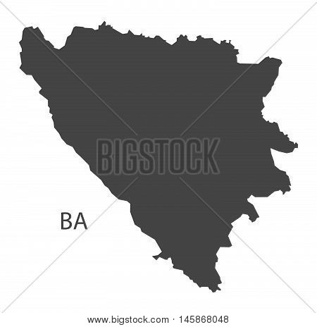 Bosnia Hercegovina grey map isolated vector high res