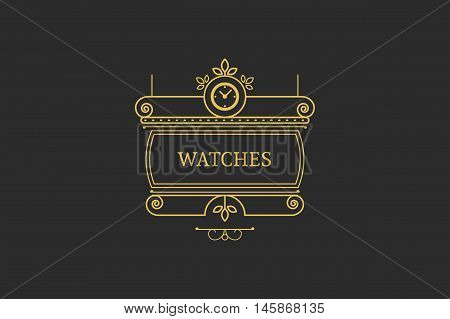 Vintage signboard for outdoor advertising of watchmaker or watch store. Vector retro linear design