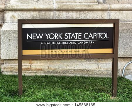 Albany New York USA. September 4 2016. Sign on the lawn of the New York State capitol