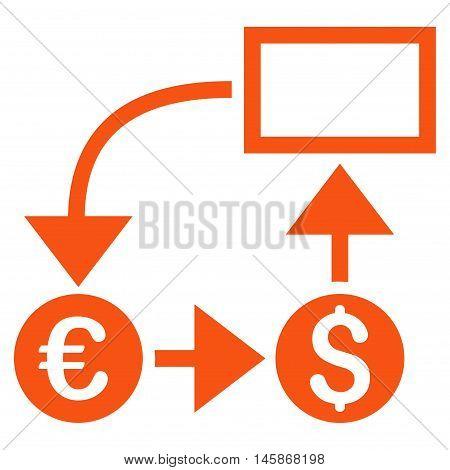 Cashflow icon. Vector style is flat iconic symbol, orange color, white background.