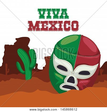 Cactus and masked fighter. Mexico landmark and mexican culture theme. Colorful design. Vector illustration