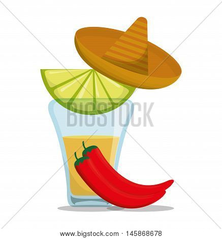 Tequila shot hat and pepper . Mexico landmark and mexican culture theme. Colorful design. Vector illustration