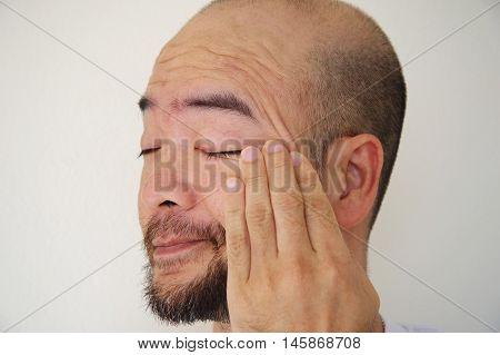 anxiety Asia beard bald man on white background