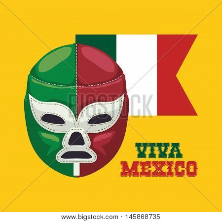 Masked fighter. Mexico landmark and mexican culture theme. Colorful design. Vector illustration