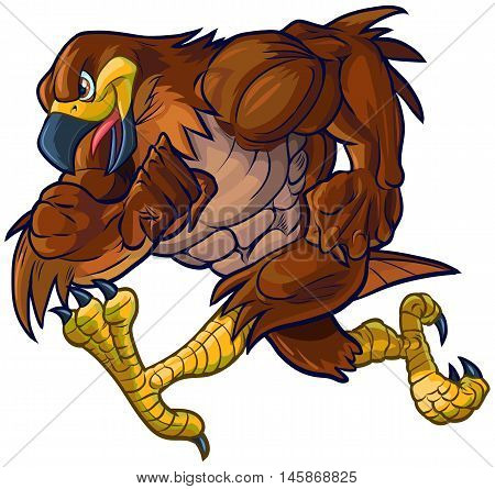 Vector cartoon clip art illustration side view of a tough muscular hawk falcon or eagle mascot running.