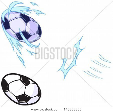Vector cartoon clip art illustration template set for a custom character that plays soccer. 2 ball versions included: 1 with anime or manga style wave motion lines 1 without. Impact and motion lines fit over the foot.