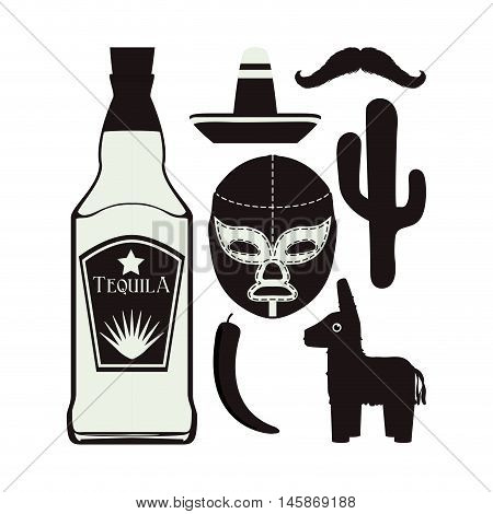 Tequila fighter cactus hat  and mustache. Mexico landmark and mexican culture theme. Black and white design. Vector illustration
