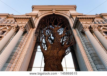 Large bronze tree in the palace of farmers in Kazan Russia.