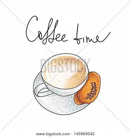 Vector illustration: cup of cappuccino with cookie on white background in hand drawn sketch style