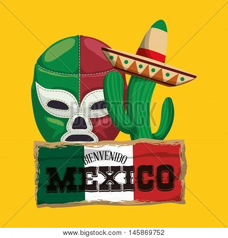 Cactus masked fighter and hat. Mexico landmark and mexican culture theme. Colorful design. Vector illustration