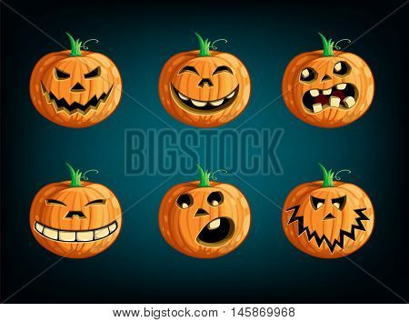 Set pumpkins for  holiday Halloween. Vector illustration.