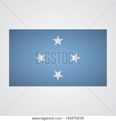Micronesia flag flag on a gray background. Vector illustration