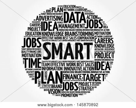 Smart word cloud business concept, presentation background