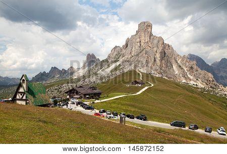 Passo Giau and mount Ra Gusela one of beautiful mountains in Italian Dolomites South Tirol Dolomiten mountains Italien European Alps