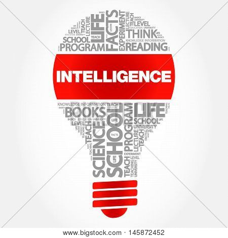 Intelligence bulb word cloud business concept, presentation background