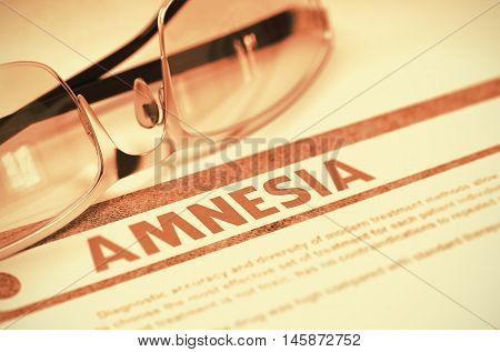 Amnesia - Medical Concept with Blurred Text and Pair of Spectacles on Red Background. Selective Focus. 3D Rendering.