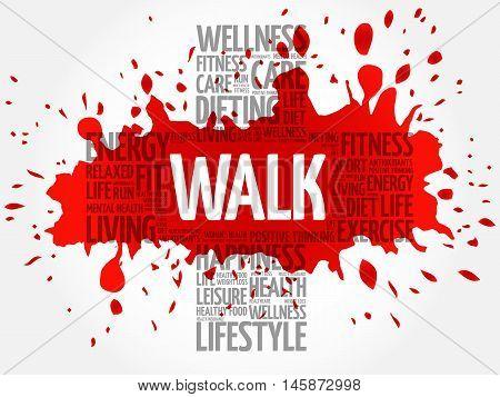 WALK word cloud health cross concept, presentation background
