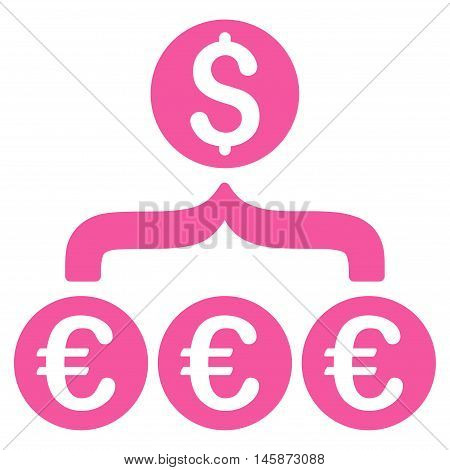 Euro Dollar Conversion Aggregator icon. Vector style is flat iconic symbol, pink color, white background.