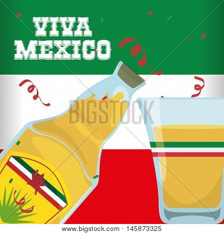 Tequila shot . Mexico landmark and mexican culture theme. Colorful design. Vector illustration