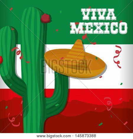 Cactus and hat. Mexico landmark and mexican culture theme. Colorful design. Vector illustration