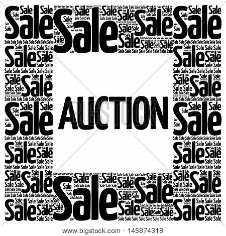 AUCTION words cloud business concept, presentation background