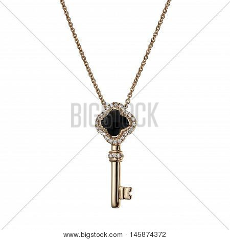 Gold chain with pendant in the shape of a key
