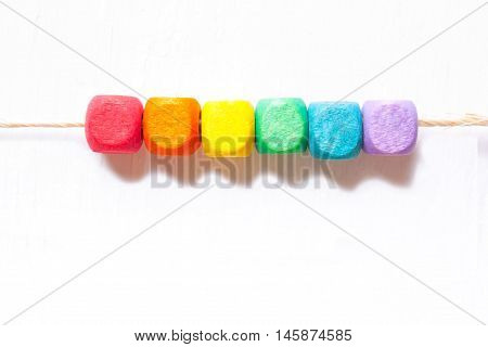 Colorful cubes on a white backgroundthe symbol of LGBT.The rainbow flag