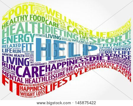 HELP word cloud, health concept presentation background