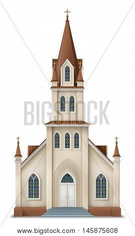 Illustration of christian church realistic image of protestant church EPS 10 contains transparency.