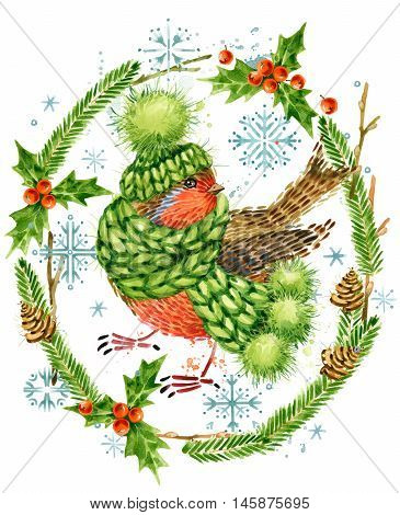 Cute bird. Christmas card. Forest animal. Watercolor winter forest illustration. Christmas wreath frame. watercolor winter holidays background.