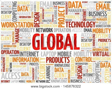 Global word cloud concept , presentation background