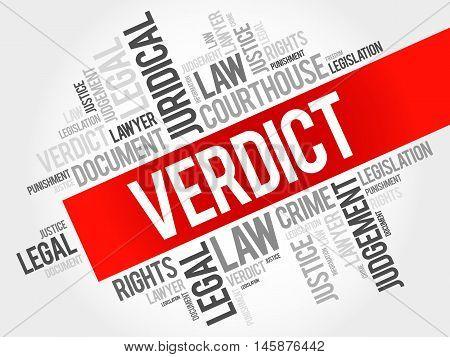 Verdict word cloud concept , presentation background