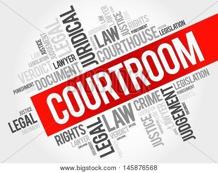 Courtroom word cloud concept , presentation background