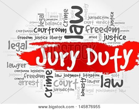 Jury Duty word cloud concept , presentation background