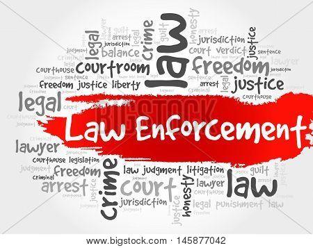 Law enforcement word cloud concept, presentation background