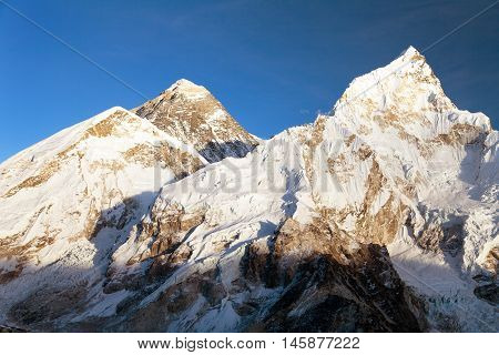 Evening panoramic view of Mount Everest from Kala Patthar - Way to Everest base camp Everest area Sagarmatha national park Khumbu valley Nepal