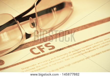 CFS - Chronic Fatigue Syndrome - Medical Concept with Blurred Text and Glasses on Red Background. Selective Focus. 3D Rendering.